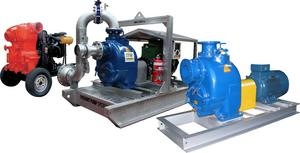 Engine and motor driven sewage + trash pumps